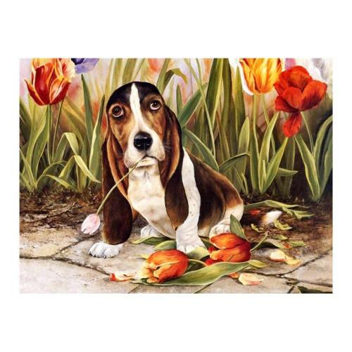 5D Diamond Painting Basset Hound and Tulips Kit