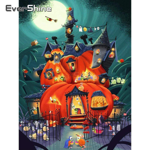 5D Diamond Painting Haunted Pumpkin House Kit