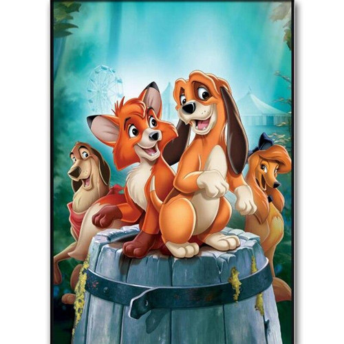 5D Diamond Painting Fox and the Hound Barrel Kit