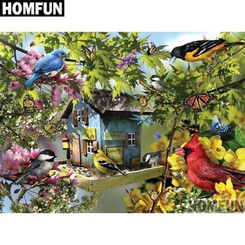 5D Diamond Painting Birds & Butterfly Birdhouse Kit