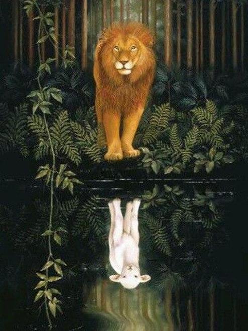 5D Diamond Painting Lion and Lamb Reflection Kit