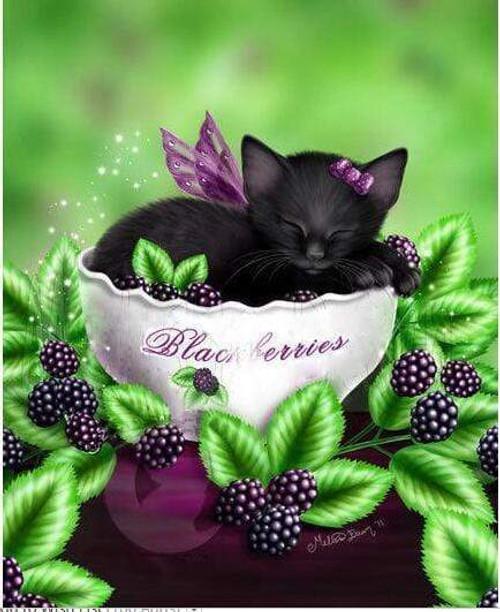 5D Diamond Painting Bowl of Blackberries Kitten Kit