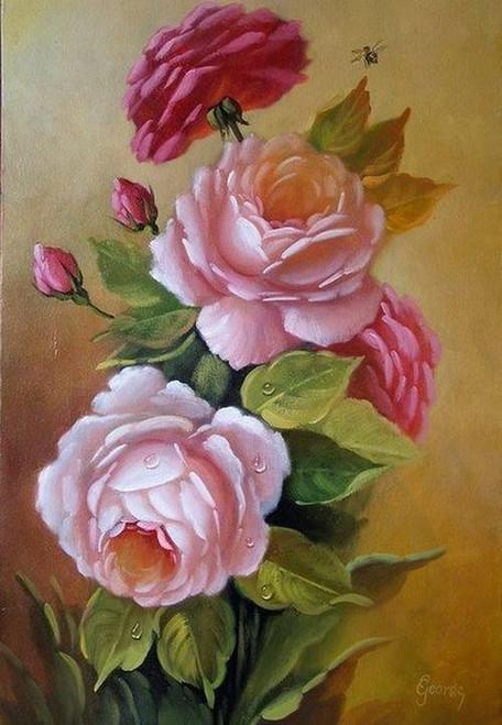 5D Diamond Painting Wet Pink Roses Kit