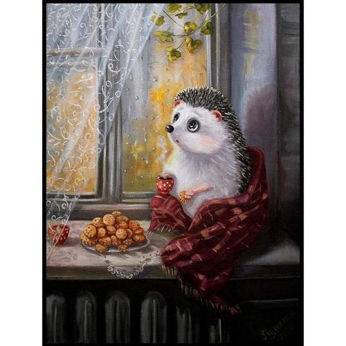 5D Diamond Painting Hedgehog Coffee and Cookies Kit