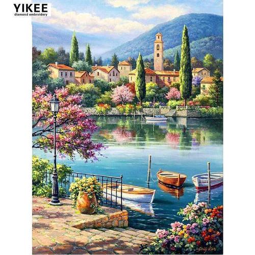 5D Diamond Painting Lake Boats Kit
