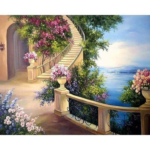 5D Diamond Painting Patio Staircase by the Sea Kit