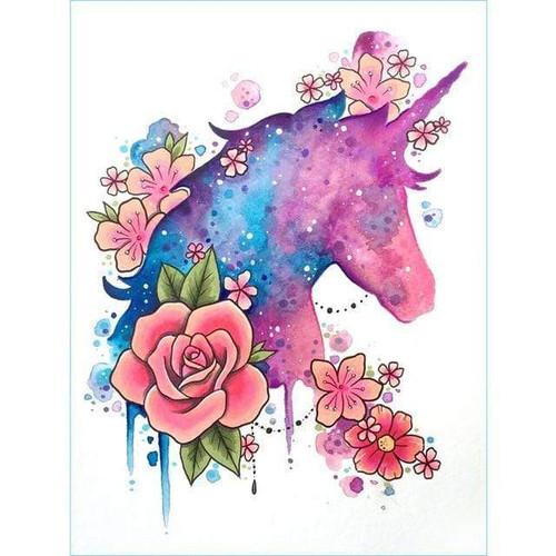 5D Diamond Painting Unicorn Rose Abstract Kit