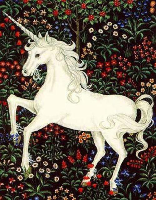 5D Diamond Painting White Unicorn in Flowers Kit