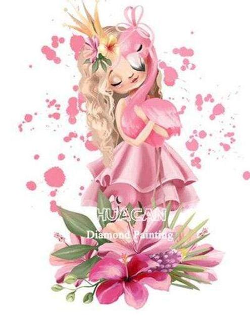 5D Diamond Painting Girl Holding a Flamingo Kit