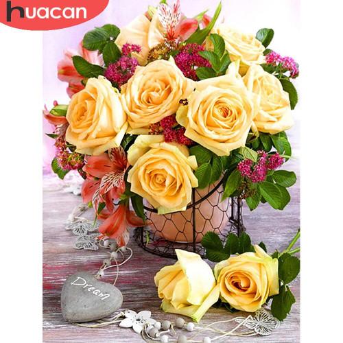 5D Diamond Painting Yellow Rose Arrangement Kit