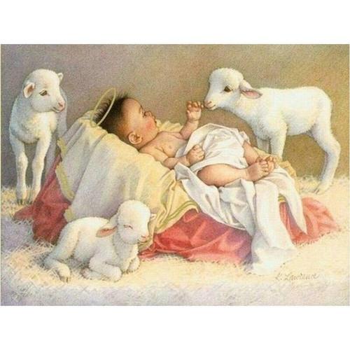 5D Diamond Painting Baby Jesus and Lambs Kit