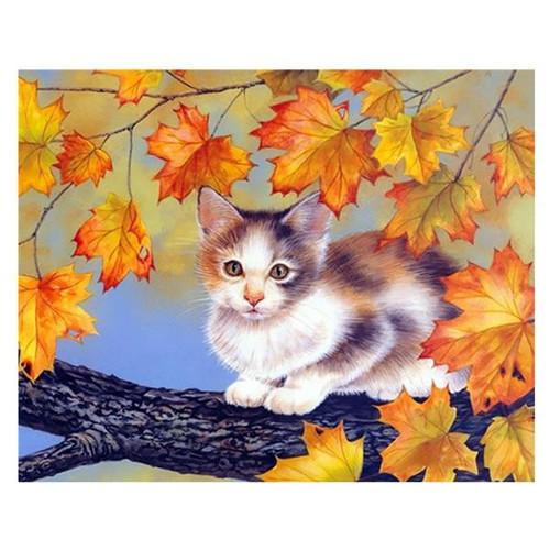 5D Diamond Painting Fall Leaf Kitten Kit
