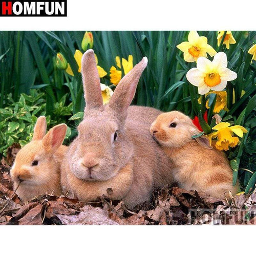 5D Diamond Painting Mother and Baby Bunnies Kit