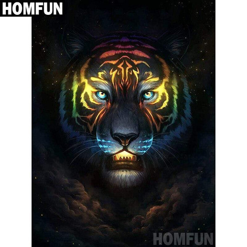 5D Diamond Painting Glowing Tiger Face Kit