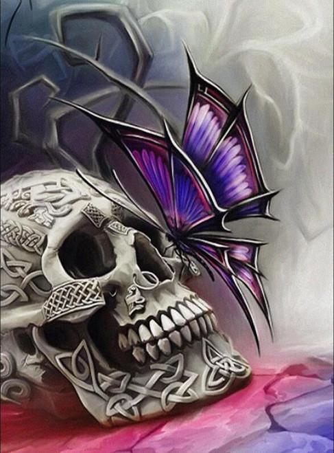 5D Diamond Painting Purple Butterfly Skull Kit