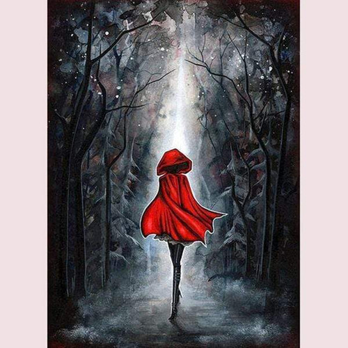 5D Diamond Painting Red Cape Woman Kit