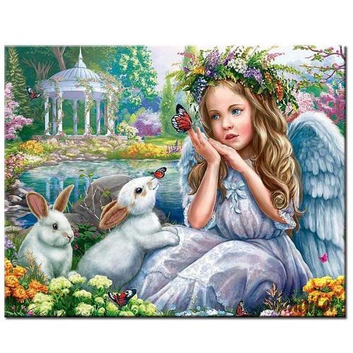 5D Diamond Painting Bunnies, Butterflies and Angel Kit