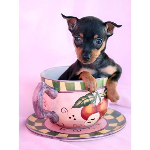 5D Diamond Painting Teacup Miniature Pinscher Kit