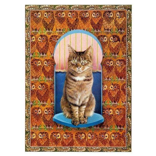 5D Diamond Painting Cat and Owls Kit
