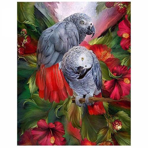 5D Diamond Painting Two Gray Parrots Kit
