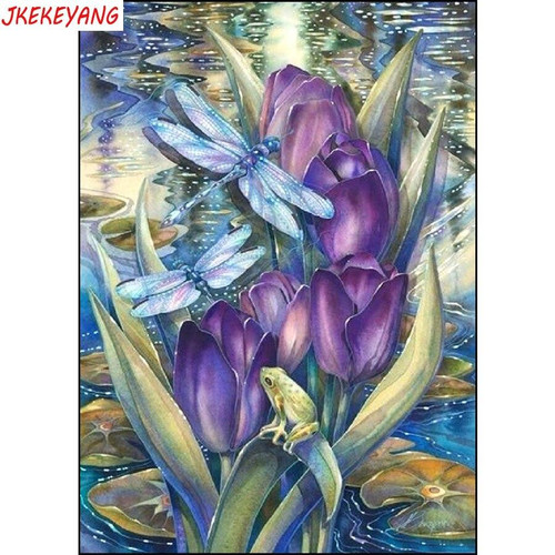 5D Diamond Painting Purple Tulips Dragonflies Kit