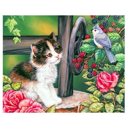 5D Diamond Painting Kitten Bluebird Berries Kit