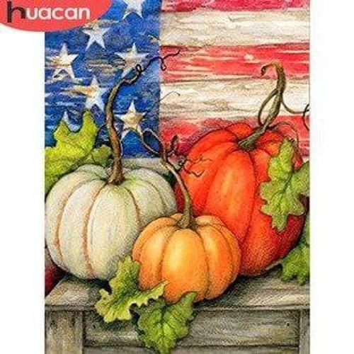 5D Diamond Painting American Flag Pumpkins Kit