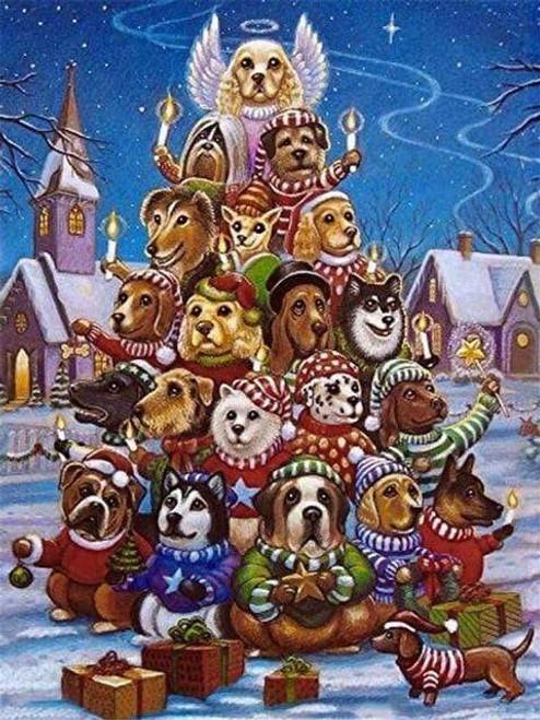 5D Diamond Painting Dog Christmas Tree Kit