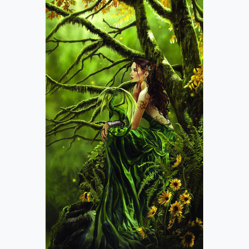 5D Diamond Painting Green Dragon Woman Kit