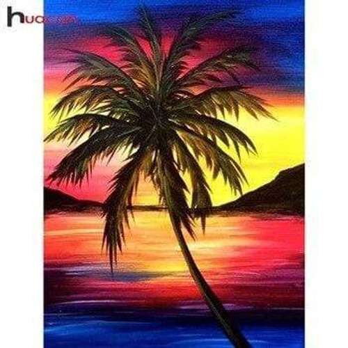 5D Diamond Painting Palm Tree in the Sunset Kit