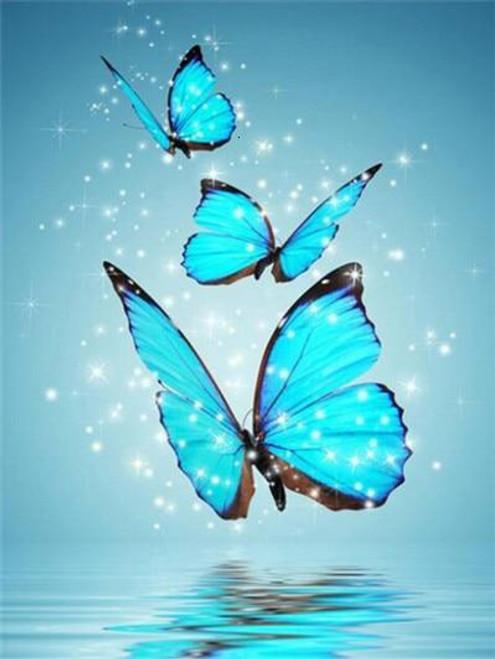 5D Diamond Painting Three Blue Butterflies Kit