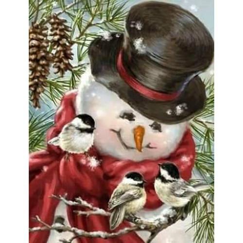 5D Diamond Painting Three Bird Snowman Kit