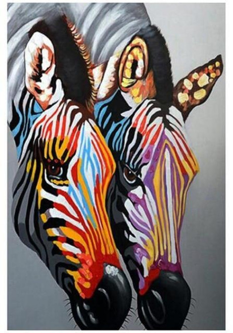 5D Diamond Painting Two Colorful Zebras Kit