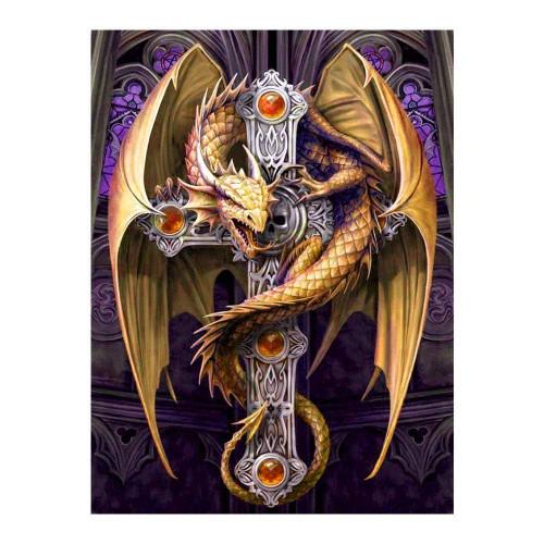 5D Diamond Painting Gold Dragon Cross Kit