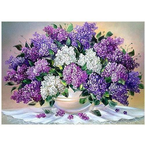 5D Diamond Painting White Bowl of Lilacs Kit