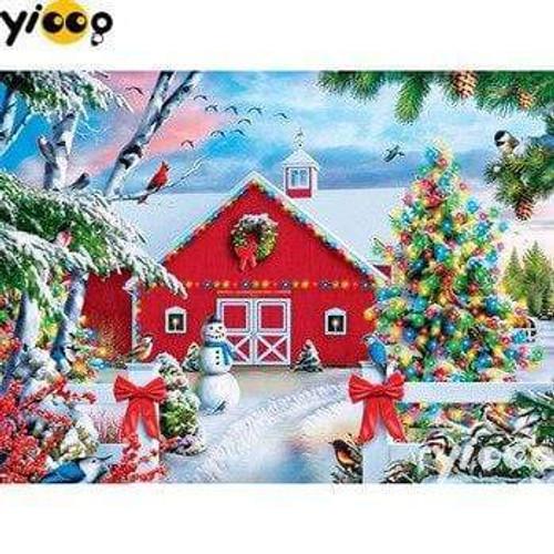 5D Diamond Painting Bright Christmas Barn Kit