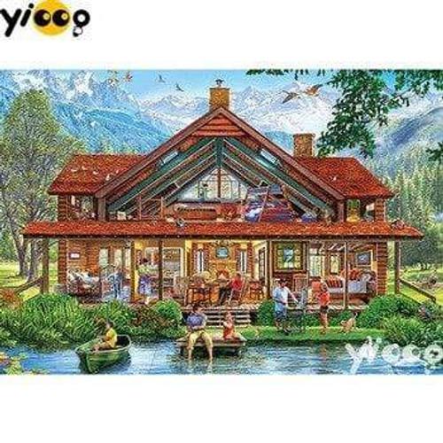 5D Diamond Painting Mountain Cabin Life Kit