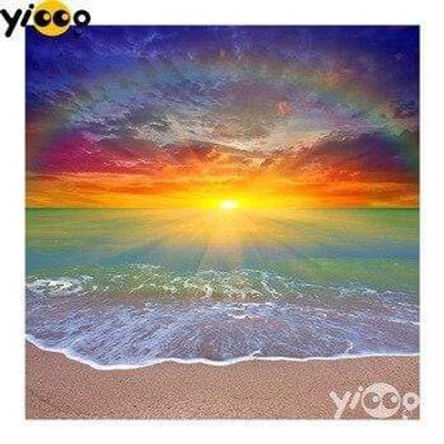 5D Diamond Painting Rainbow Beach Sunset Kit