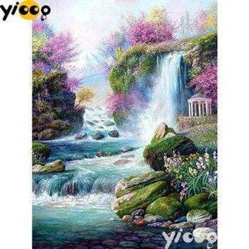 5D Diamond Painting Pink Blossom Waterfalls Kit