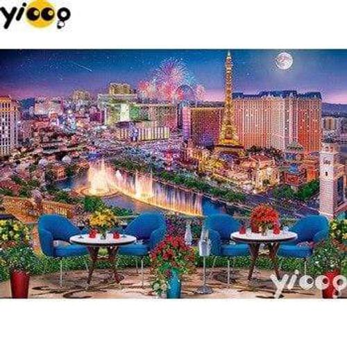 5D Diamond Painting Dining Over Las Vegas Kit