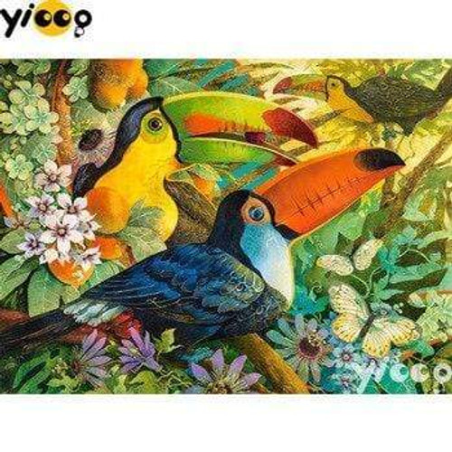 5D Diamond Painting Three Toucans in the Trees Kit