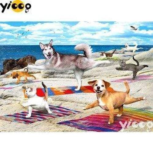 5D Diamond Painting Pet Beach Yoga Kit