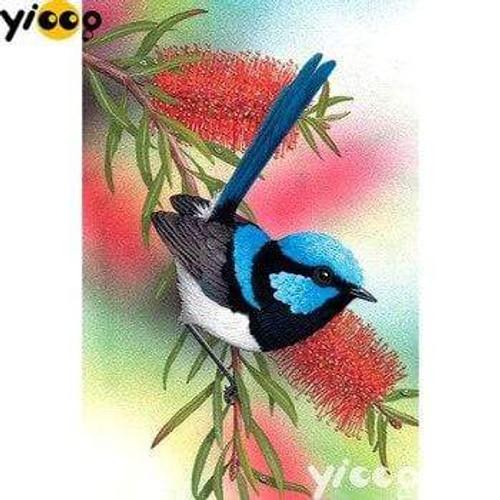 5D Diamond Painting Blue and Black Bird Kit
