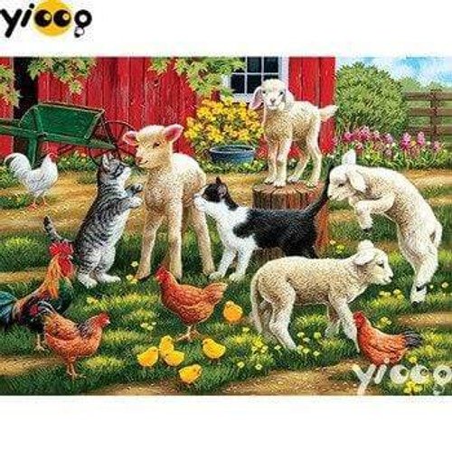 5D Diamond Painting Lambs, Cats and Chickens Kit