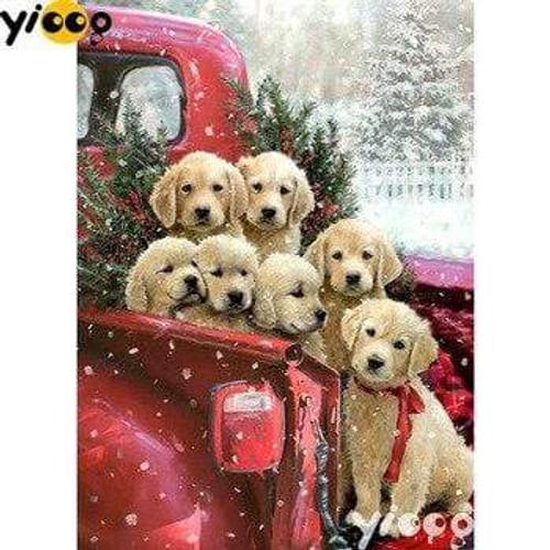5D Diamond Painting Seven Christmas Puppies Kit