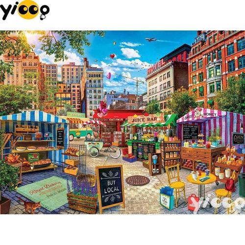 5D Diamond Painting City Street Fair Kit