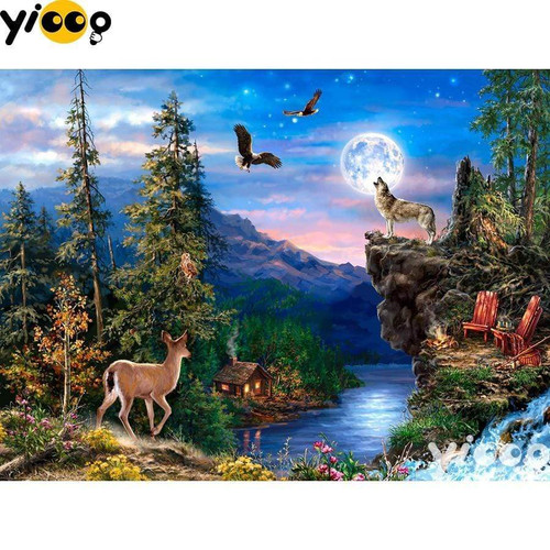 5D Diamond Painting Animals in the Moonlight Kit