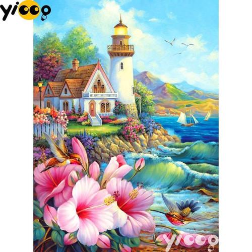 5D Diamond Painting Lighthouse Flowers & Hummingbirds Kit