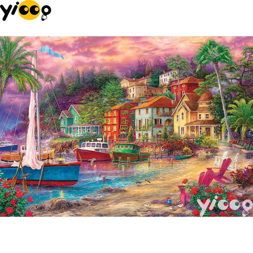 5D Diamond Painting Village Boats Kit