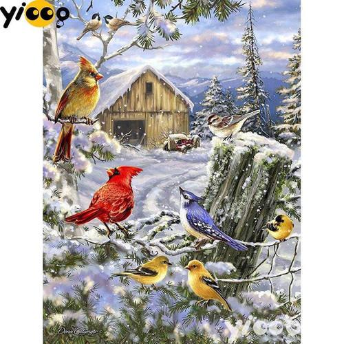5D Diamond Painting Birds at the Winter Farm Kit